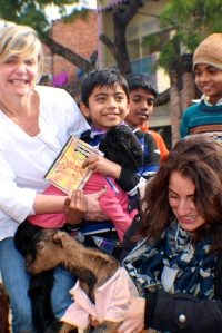 Beautiful Children with crazy baby goats and textile designers!